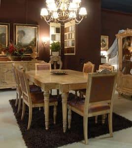 3485 TABELLE, Tisch mit gepolsterten Stühlen für Esszimmer, Luxus-Klassiker