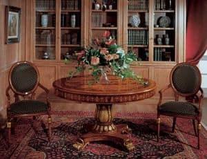 Art. 1112, Runder Tisch aus Holz-Intarsien für Speisesäle gemacht
