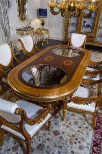 Art. 2011 Tiche, Ovaler Tisch mit eingelegter Platte