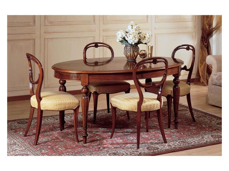 Art. 281 oval table '800 Francese, Ovalen Tisch, Luxus klassischen Stil, dekoriert in Holz