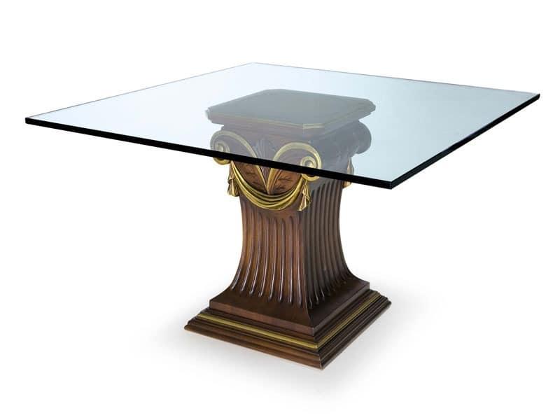 Art.528 dining table, Tisch mit Glasplatte und Buchen Basis, klassischen Stil