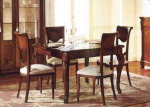 Canova quadratischen Tisch, Platz ausziehbaren Tisch, mit Intarsien und poliert