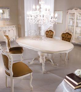 Chippendale ovaler Tisch lackiert, Ovaler Esstisch
