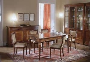 D 303, Ausziehbaren Tisch aus Kirschholz, mit floralen Inlay