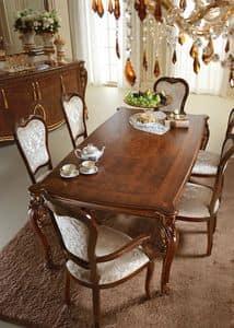 Donatello Tisch, Edelholztisch, Dekorationen von Hand von Handwerksmeistern angewandt, für das Esszimmer