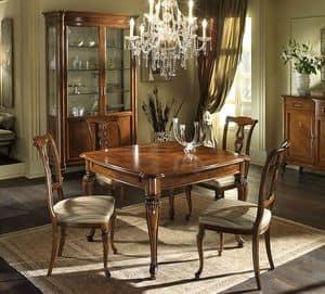 G 301, Quadratischer Tisch aus Nussbaum, Ahorn Dekor