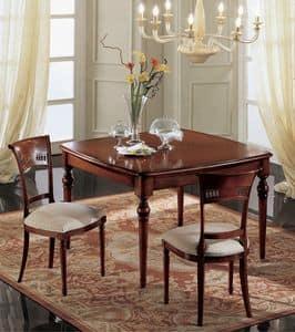 Gardenia quadratischen Tisch, Extensible quadratischer Tisch, klassisch, aus massivem Nussbaum