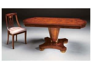 IMPERO / Esstisch mit Tischfuß Typ B, Esstisch aus Eschenholz, klassisch gemacht Stil
