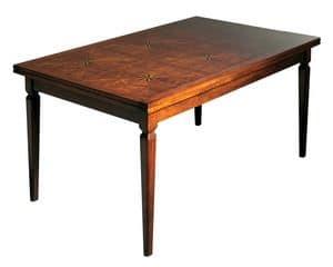 Lauret VS.5514.B, Walnut rechteckigen ausziehbarer Tisch, Intarsien top, für die Gaststätten in der klassischen Luxus-Stil