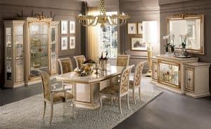 Leonardo Esszimmer, Klassischer Luxus Esszimmer, mit Tisch, Stühlen und Schaufenster