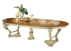 Orlov LU.0670, Ausziehbaren Tisch, lackiert und mit Intarsien, im klassischen Stil