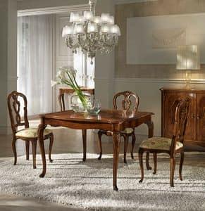 P 301, Walnut quadratischen Tisch, ausziehbar, Style '700