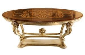 Pumpkin LU.0676.A, Ovalen Tisch mit eingelegten top geschnitzt und Base, zum Wohnzimmer im klassischen Stil