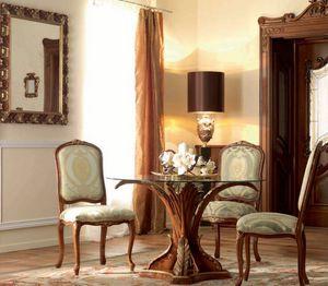 Royal Palace Art. TAV07/DIAM.120, Runder Tisch, mit geschnitztem Sockel und von Hand dekoriert