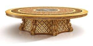 S01 runden Tisch, Luxury klassische Tabelle mit Lazy Susan, mit Bruyereholz Inlays, handgeschnitzt