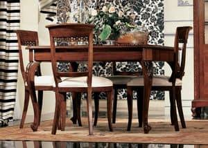 Settecento tavolo quadrato, Ausziehbarer Tisch in Nussbaum, mit Handwerkskunst