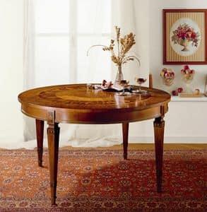 T472 Tisch, Runder Ausziehtisch, aus massivem Holz mit Intarsien