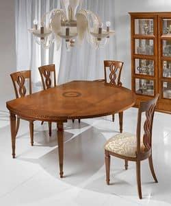 T492 I Capitelli Tisch, Ausziehtisch im klassischen Stil, aus Massivholz