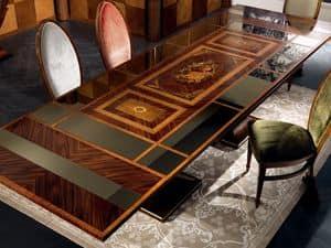 TA27 Luci della ribalta Tisch, Ausziehbaren Tisch, Spiegel oben, klassischer Stil