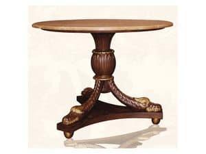 Table art. Croco, Esstisch aus Holz mit oben in roten Marmor