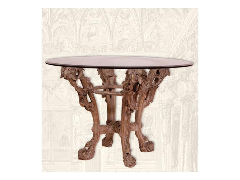 Table art. Sari, Esstisch aus Holz handgefertigt, Art-Deco-Stil