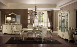 Tiziano Tisch, Rechteckiger Tisch, Beine fein gearbeitet, Elfenbein, für die Gaststätten classic elegant