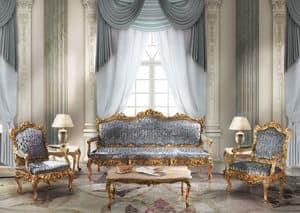 1009, 3er-Sofa in der klassischen Luxus-Stil, Blattgold Oberflächen