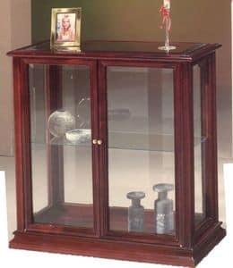 2055 CABINET, Kleiner Schrank aus Holz und Glas, im klassischen Stil
