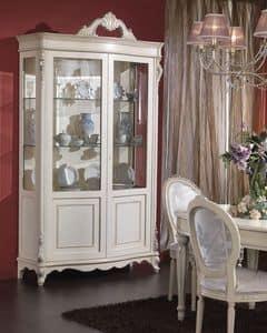 3440 SCHAUKASTEN, Furnierte Schrank mit 2 Türen und Regale aus Glas