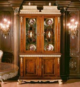 Art. 1057, Stellen Sie in Nussbaum mit 2 Glastüren, 700-800 Stil
