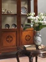 art. 910 Vitrine, Eleganten Vitrine mit Glasböden, Intarsien Türen, klassischen Stil