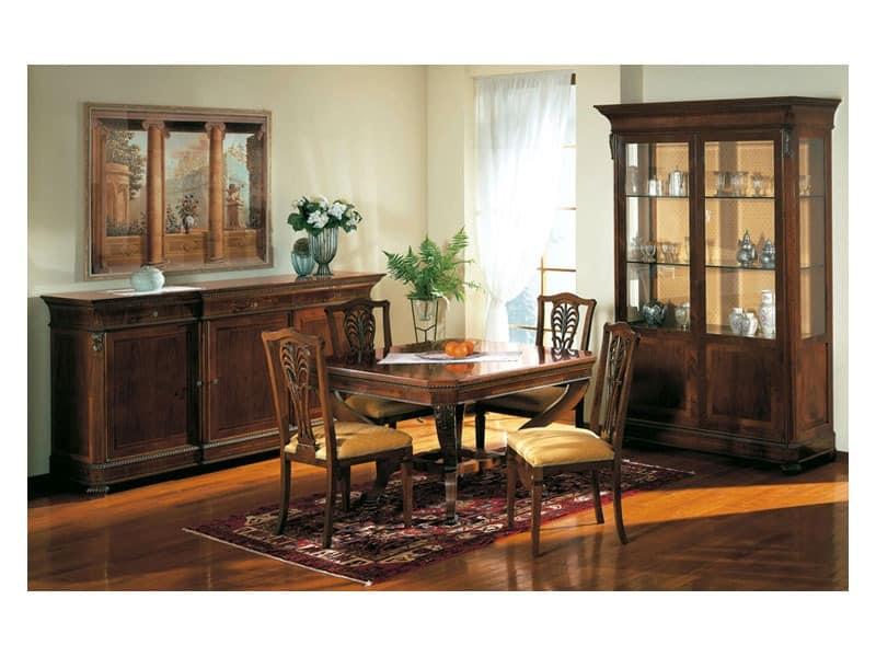 Art. 962 display cabinet Carlo X, Klassischen Stil, verziert mit Glasböden, für Wohnzimmer