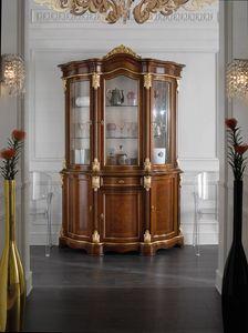 Brianza Glasschrank 3 Türen, Klassischer Glasschrank mit Briarfronten