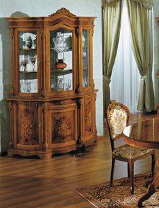 Brianza Glasschrank 3 Türen Inlay, Glasschrank mit dekorativen Schnitzereien