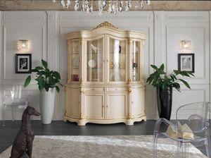 Brianza Glasschrank 4 lackierte Türen, Klassischer Glasschrank aus lackiertem Holz
