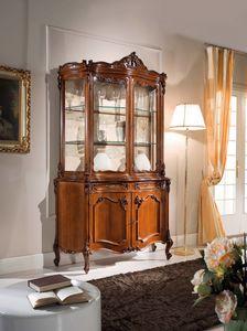 Chippendale Glasschrank 2 Türen, Glasschrank im klassischen Stil