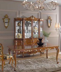 Chippendale Glasschrank 4 Türen, Glasschrank mit dekorativen Schnitzereien