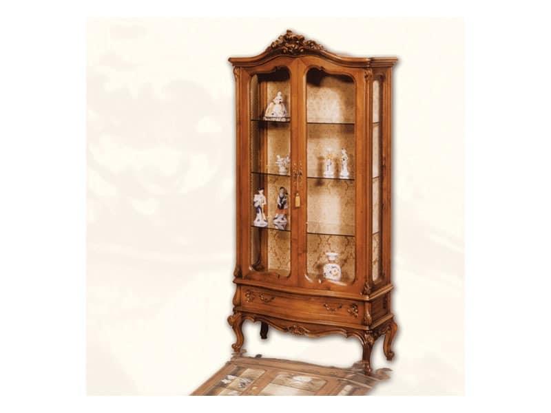Display Cabinet art. 06, Vitrine mit Türen aus Holz, im Stil Louis XV