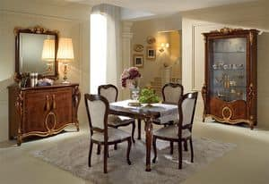 Donatello Vitrine mit 2 Türen, Elegante Vitrinen, klassischen italienischen Design, für Wohnzimmer