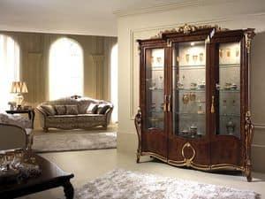 Donatello Vitrine mit 3 Türen, Vitrine mit elegantem Dekor, mit einem klassischen italienischen Geschmack, für die Gaststätten