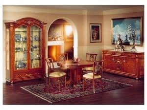 DUCALE DUCVE2P / Vitrine mit 2 Türen, Vitrine aus Esche mit 2 Glastüren, klassischen Stil
