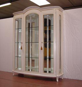 Hilton Showcase 3 Türen, Klassische Vitrine, elfenbeinfarben lackiert