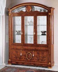IMPERO / Display cabinet with 3 doors B, Vitrine aus Esche mit Glastüren, klassischen Stil