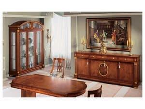 IMPERO / Display cabinet with 3 doors, Vitrine aus handwerklich Eschenholz