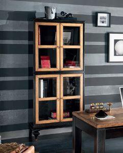 Inglese Vitrine 4 Türen, Vitrine aus schwarz lackiertem Holz