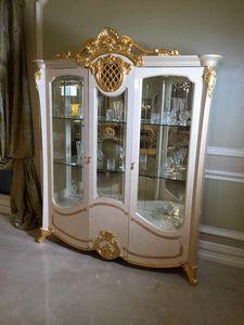 Isabelle Vitrine 3 Türen, Schaufenster mit Blattgolddetails