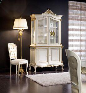Regency Schrank 2 Türen lackiert, Glasschrank für klassisches Esszimmer