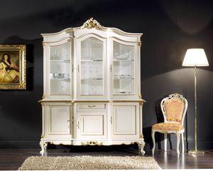 Regency Schrank 3 Türen lackiert, Lackierter Glasschrank im klassischen Stil