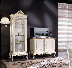Regency Vitrine 1 Tür Vollglas, Schaufenster im klassischen Stil