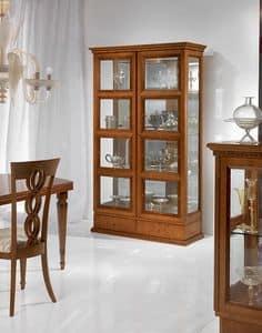 V478 Quadrotti Vitrine, Klassische Vitrine für Wohnzimmer, zwei Türen, für Aufenthalte